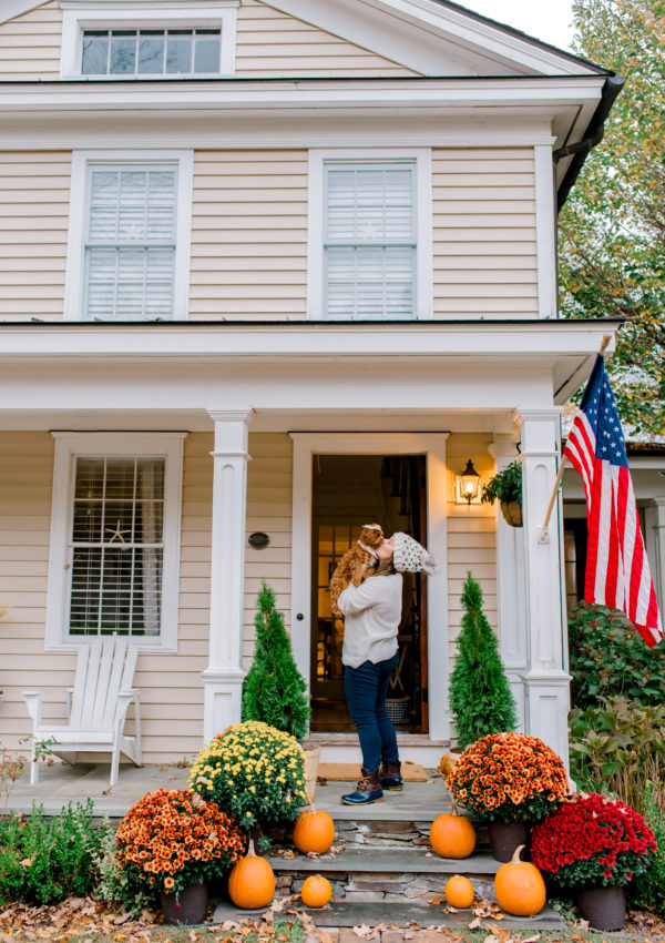 Front Porch Fall Decor at our Historic Modern Farmhouse in New England